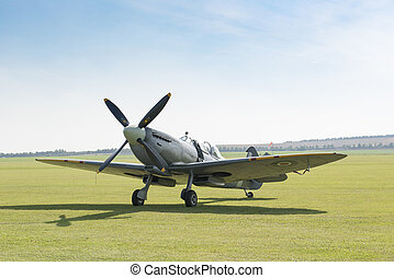 Angled Front View of an RAF Spitfire Fighter Plane - Angled...