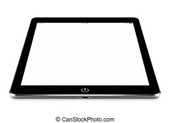 Angled front view of black tablet pc with blank screen mockup li