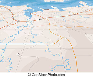 Angled map - Generic editable vector map of a coastline with...