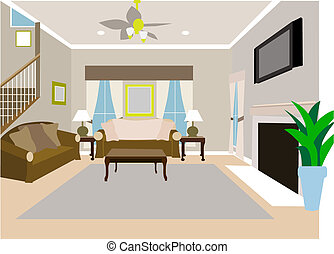 Indoor standard room of personal residential housing with second story stairs.