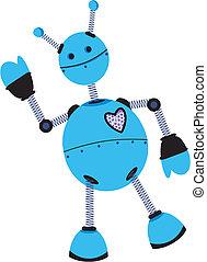 angled, ondas azuis, robô, roxo