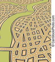 Angled streets - Angled editable vector illustration of a...