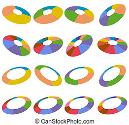 Angled Wheel Hubs - Angled wheel charts isolated on a white...