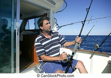 Angler big game saltwater fisher boat