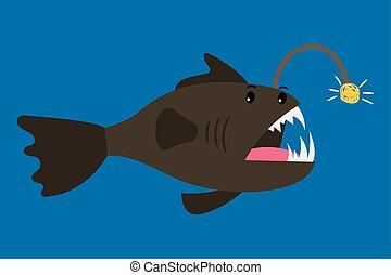 Angler fish cartoon icon