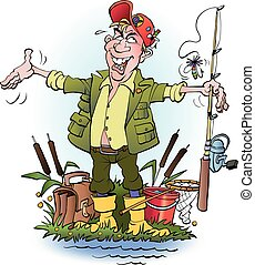 Vector cartoon illustration an angler who lie