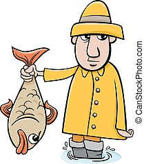 angler with fish cartoon - Cartoon Illustration of Angler or...