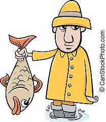 angler with fish cartoon - Cartoon Illustration of Angler or...