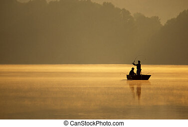Anglers Fishing - A pair of anglers enjoy a beautiful,...