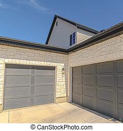 angles, extérieur, droit, carrée, double, portes garage