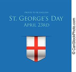 angleterre, affiche, rue, drapeau, ruban, george, bannière, ou, jour