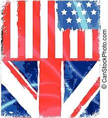 angleterre, américain, grunge, drapeau