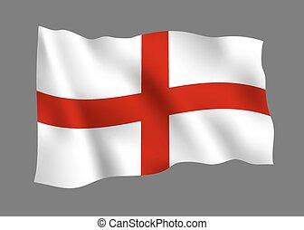 angleterre, drapeau, isolé, sur, arrière-plan gris, vecteur, illustration