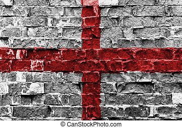 angleterre, drapeau, peint, sur, mur brique