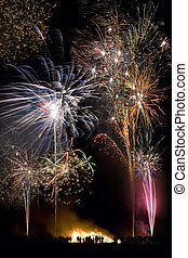 angleterre, fawkes, 5ème, -, exposer, feud'artifice, nuit, ...