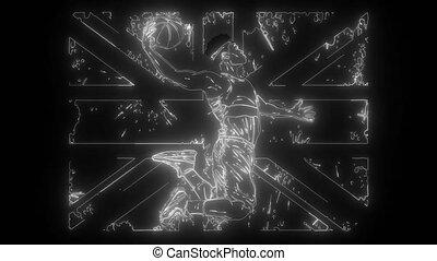 angleterre, flagdigital, joueur, néon, vidéo, silhouette, basket-ball