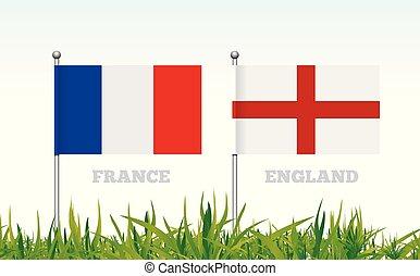 angleterre, football, contre, france, vecteur, drapeaux, stadium., herbe, toile de fond