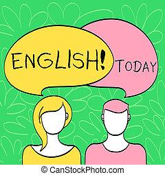 angleterre, gens, photo, overlaying., femme, sien, coloré, écriture, leur, parole, texte, conceptuel, bulle, business, projection, main, relater, langue, english., faces, mâle, ou