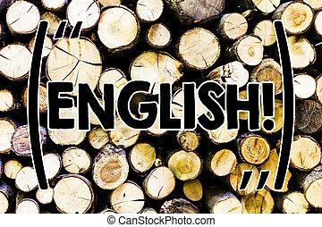 angleterre, gens, texte, signe, message, sien, thoughts., vendange, idées, leur, bois, photo, conceptuel, projection, intentions, fond, relater, langue, bois, english., sauvage, ou