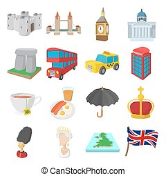 angleterre, icônes, ensemble, dessin animé, style