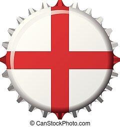 angleterre, national, cap., illustration, drapeau, vecteur, bouteille