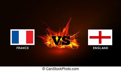 angleterre, symbole, contre, france, vs, drapeaux, fire.