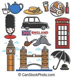 angleterre, touriste, icônes, attractions, destination voyage, célèbre, vecteur, royaume-uni, tourisme