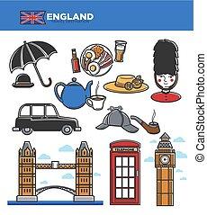 angleterre, touriste, icônes, attractions, voyage, célèbre, vecteur, royaume-uni, tourisme, repères