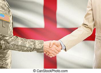 angleterre, usa, civil, national, mains, -, uniforme, drapeau, fond, complet, militaire, secousse, homme