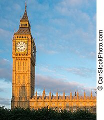 anglia, cielna, zachód słońca, ben, wieża, londyn