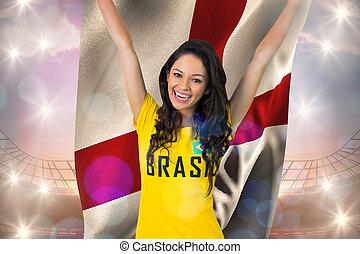 anglia, trikó, izgatott, ellen, stadion, brasil, labdarúgás...