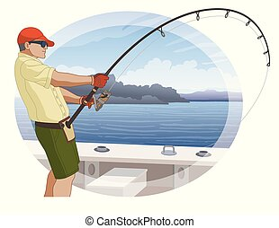 angling fishing fisherman catching fish from boat using...