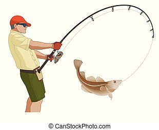 angling fishing fisherman catching fish using fishing pole...