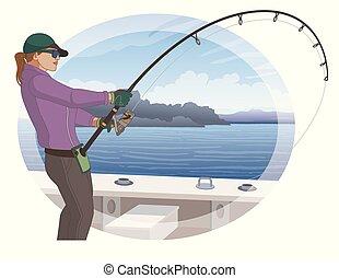 angling fishing fisherwoman catching fish from boat using...
