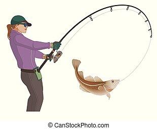 angling fishing fisherwoman catching fish using fishing pole...
