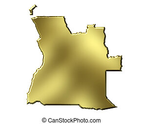 Angola 3d Golden Map
