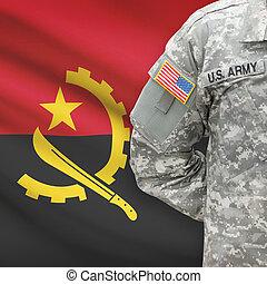 angola, -, amerikai, katona, lobogó, háttér