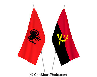 Angola and Albania flags - National fabric flags of Angola ...
