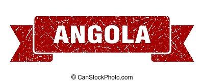 Angola ribbon. Red Angola grunge band sign