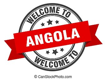 Angola stamp. welcome to Angola red sign