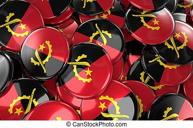 Angola Badges Background - Pile of Angolan Flag Buttons.