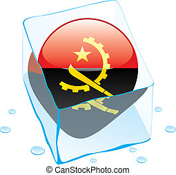 angola button flag frozen in ice