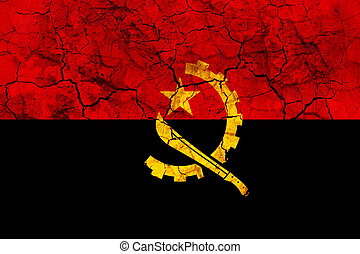 angola country flag painted on a cracked grungy wall