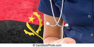 Angola flag female doctor with stethoscope
