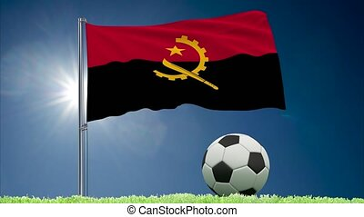 Angola flag fluttering and football rolls