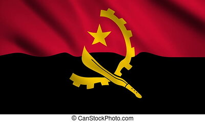 Angola flag Motion video waving in wind. Flag Closeup 1080p HD footage