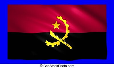 Angola flag on green screen for chroma key