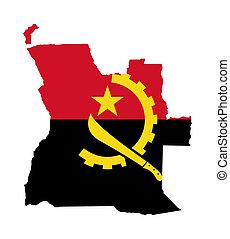 Angola flag on map