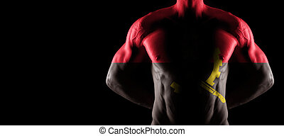 Angola flag on muscled male torso with abs