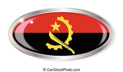 Angola Flag Oval Button